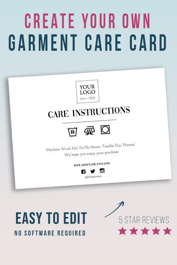 Garment Care Instructions Card 7x5 Thank You Apparel Note Diy