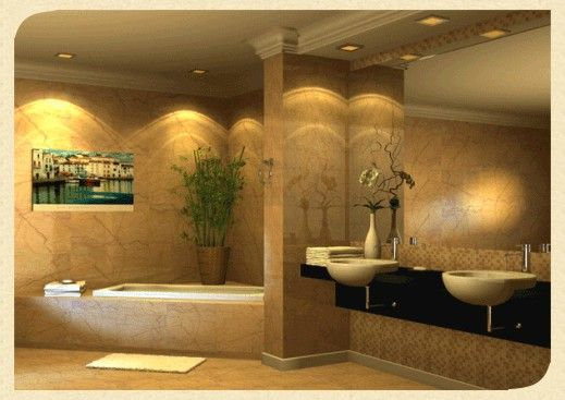 Ultra-luxury-elegant-modern-bathroom-with-two-wash-basins-on-black-shelf-and-corner-bathtub