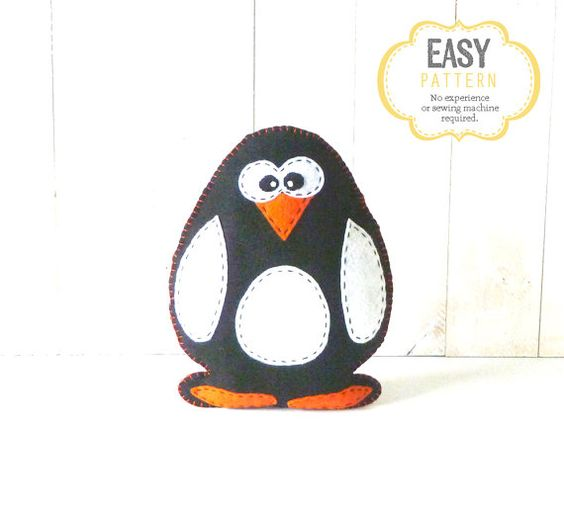 Stuffed Penguin Pattern Felt Penguin Pattern by LittleSoftieShoppe