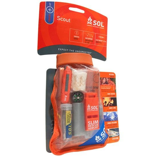 Scout kit by SOL - Priorities in a survival situation: escape the elements, stay warm, and signal rescuers so you're easy to find. This kit has you covered! You would not believe all the stuff they have in this little waterproof bag! We have these in our retail shop! #desertadventures
