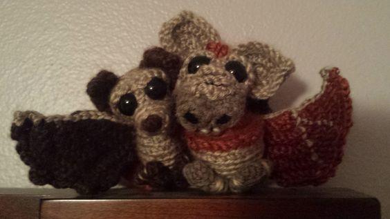 A couple of friendly amigurumi crochet bats!