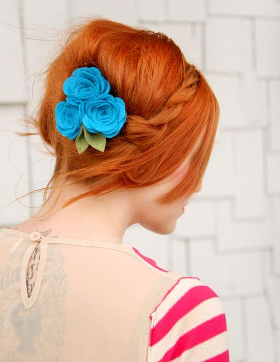 Red hair and pretty Blue Roses