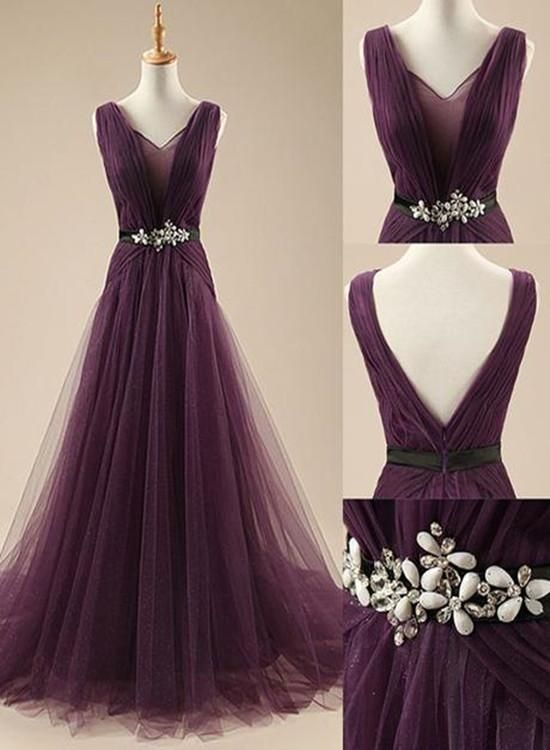 Dark Purple Long Evening Gowns 2019 Beautiful Prom Dresses 2019