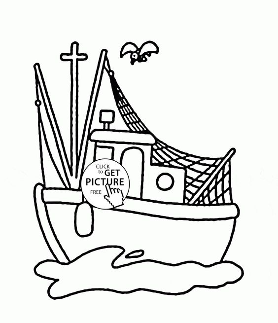 Small Fishing Boat Coloring Page For Kids Transportation Pages Printables Free
