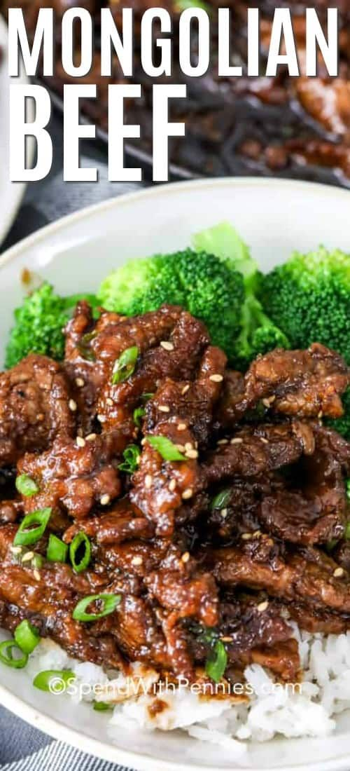This Easy Mongolian Beef recipe uses slices of tender beef coated in a sweet and salty sauce.
