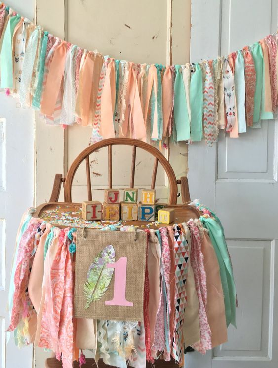 Boho Chic Girls High Chair Banner. First Birthday Party Supplies.  Boho Baby High Chair Banner with Burlap Flag. Coral and Aqua Galrand by QuiltedCupcake on Etsy