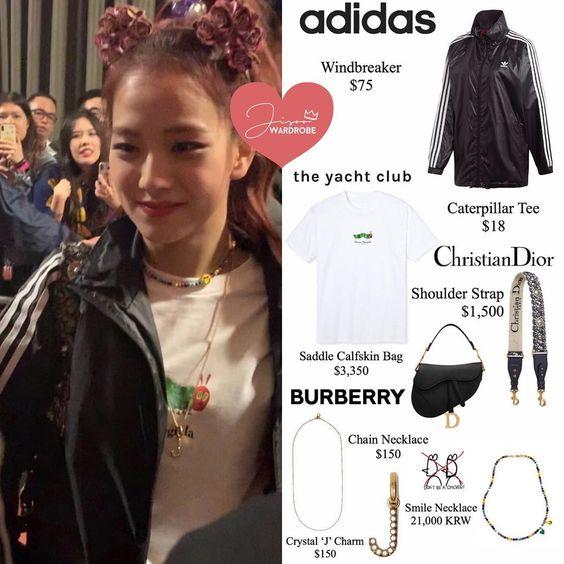 """JISOO'S WARDROBE on Instagram: """"190427 @Sooyaaa__ Hamilton Send Off ♡ Jisoo Wears @adidas Windbreaker, @mega_yacht tee, @dior bag and strap, @dont.be.a.chicken necklace,…"""""""