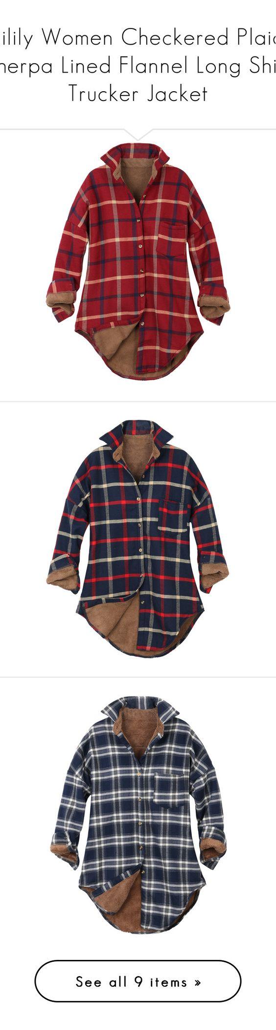 Flannel shirt women  ililily Women Checkered Plaid Sherpa Lined Flannel Long Shirt