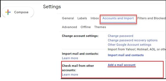 Forward AOL Mail To Gmail- Accounts and Import option