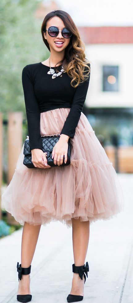 Chicwish Blush Tulle Skirt with Bow Heels Sandals and Bib Necklace or Black Long Sleeve Top