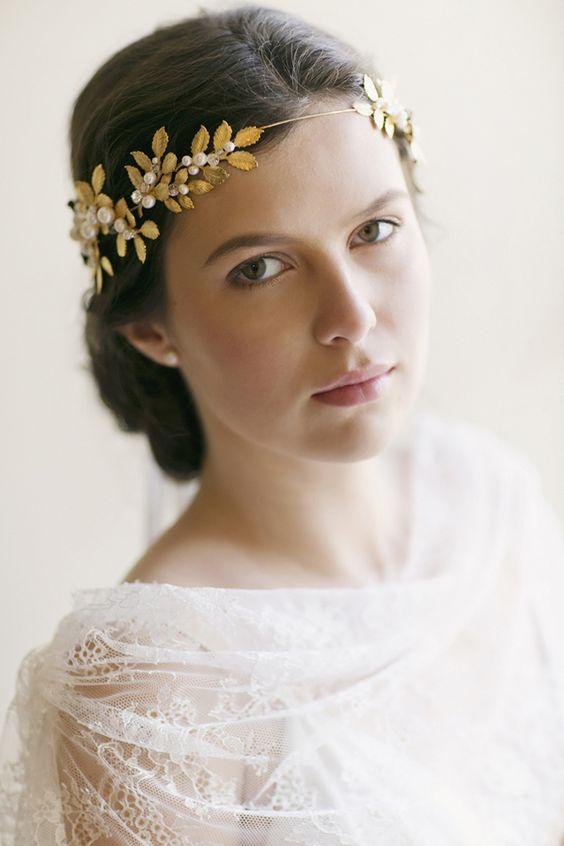 Gold leaf headband - perfect for a wedding!: