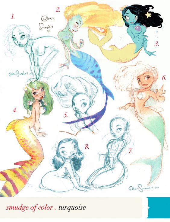 Chris Sanders (creator of Lilo and Stitch) draws some mermaids.