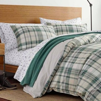 Eddie Bauer Full Queen Timbers Comforter Sham Set Green