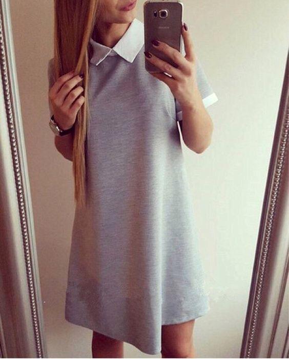 2016 Spring Summer Women Mini Dresss Short Sleeve Vestido Turn-down Collar Casual Dress Vestidos Femininos GV138