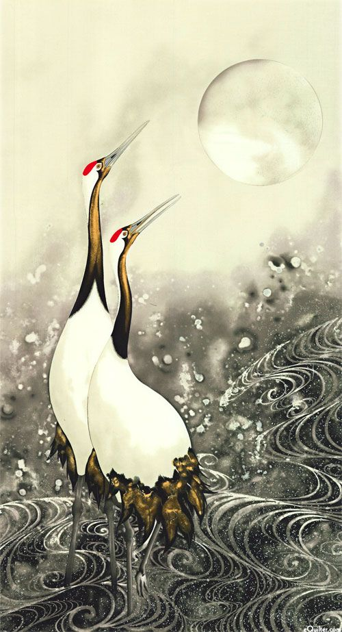 """- Quilt Fabrics from www.eQuilter.comGreeting the Moon - Red Crowned Cranes - 24"""" x 44"""""""
