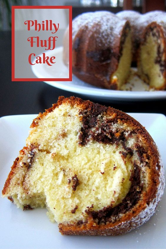 The perfect bundt cake! Cream cheese bundt cake with chocolate swirled ...