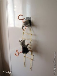 Мастер-класс Поделка изделие Моделирование конструирование Плетение МК Магнит Мышки-воришки  Материал природный Проволока Пряжа фото 1