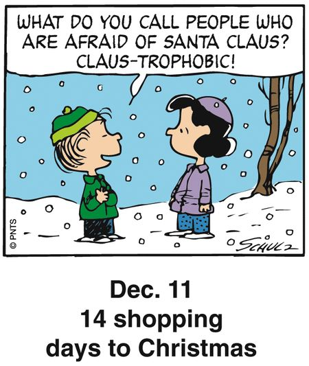 Peanuts Holiday Countdown Dec.11 14 shopping days to