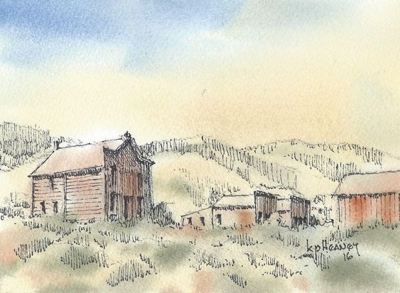 Watercolor of Montana Ghost Town #Impressionism