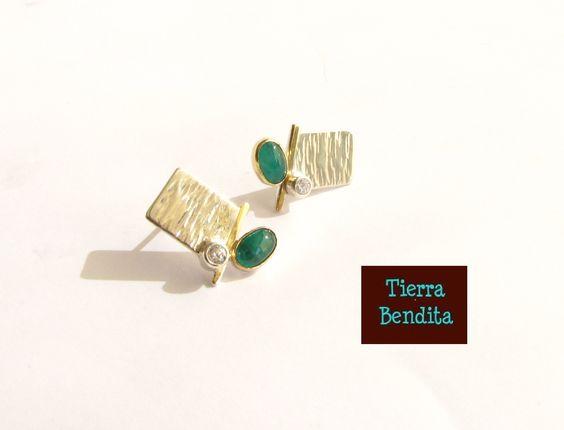 aros de esmeraldas, oro 18k y plata 950