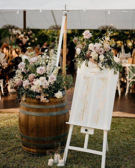 Egal wie viele Gäste eingeladen werden – so ein Tischplan ist gleichzeitig ein geniales Deko-Highlight und Willkommens-Schild bei der Trauung.   Credits Instagram Post: @weddingstyle Repost: @willowandink Photo: @keegancronin ⠀ Design and Concept: @prettyinwhiteevents_⠀ Setup: @maddenandcoevents ⠀ Wedding Coordinator: @memorylaneweddingsandevents ⠀ Florals: @laurenalyce.floraldesign ⠀ Furniture and Props: @simply.seated