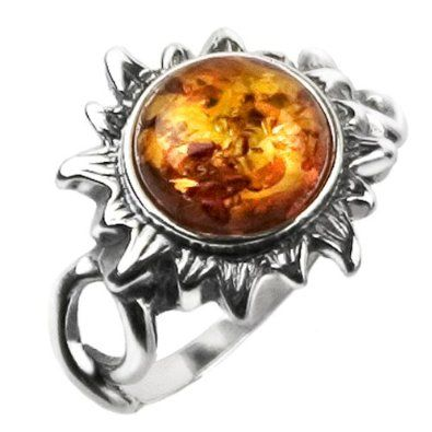 Amazon.com: Baltic Honey Amber and Sterling Silver Medium Flaming Sun Ring Sizes 5,6,7,8,9,10,11,12: Ian and Valeri Co.: Jewelry