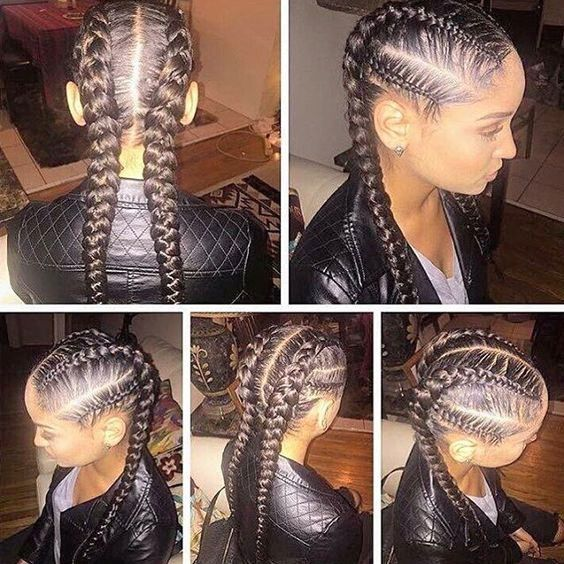 Useful 19 Two French Braids Black Hairstyles New Natural Hairstyles Hair Styles Natural Hair Styles Braided Hairstyles