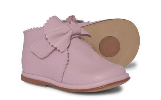 Baby Girls Pink Leather Velcro Boot
