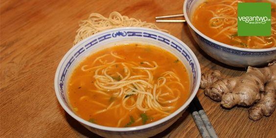 Leckeres Rezept für eine gesunde asiatische Ramen Nudelsuppe.