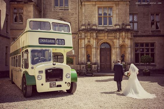 Our Wedding | Vintage Double decker open top bus for our wedding guests.