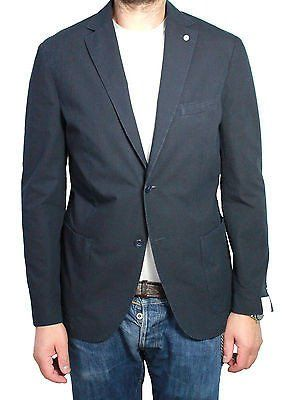 L.B.M 1911 giacca uomo sfoderata blu 67% cotone 27% lino 6% mohair
