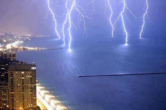 Lightning across Chicago.
