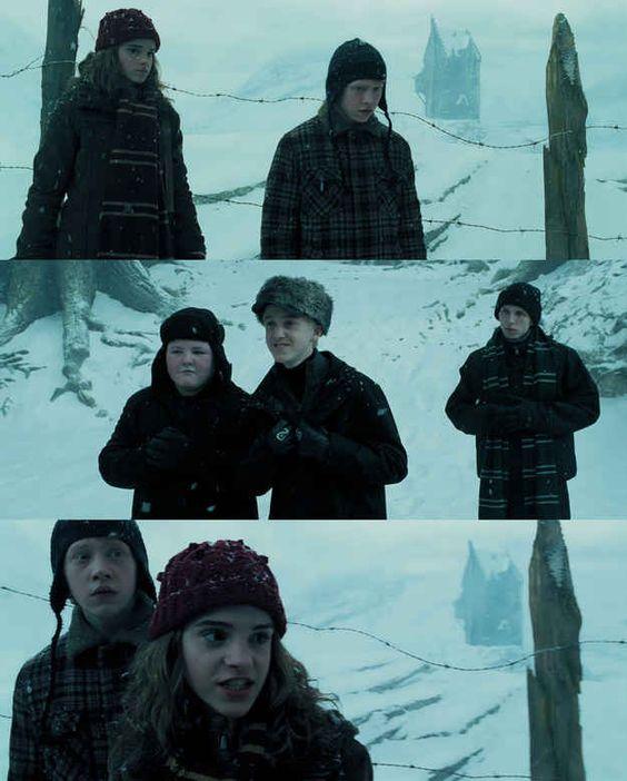 Lembra quando Malfoy foi um otário com Rony e Hermione estava completamente pronta para brigar com ele?