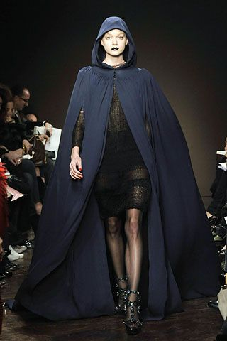 Giles Fall 2008 RTW; similar in construction to burnous - large mantle with hood, worn as outdoor garments for women c. 1820-1850
