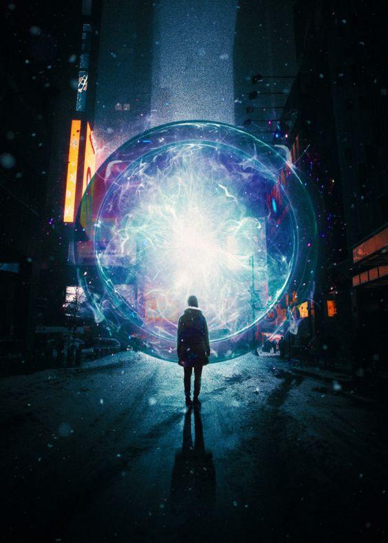 Displate Poster Present Past surreal #surrealism #digital #digitalart #design #graphicdesign #illustration #scifi #scifiart #night #city