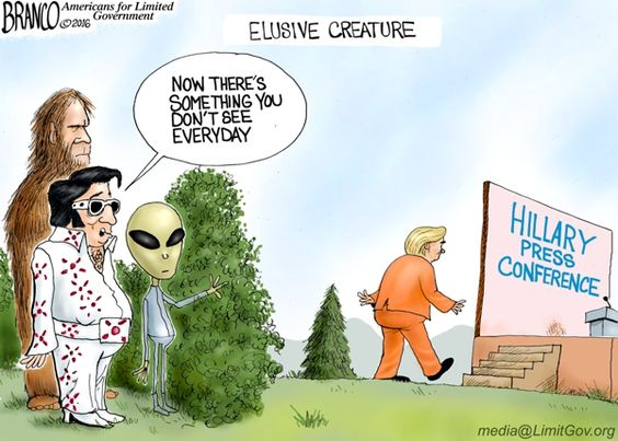 A Hillary Press Conference is a very elusive creature, but rare sightings have occurred. Political Cartoon by A.F. Branco ©2016.