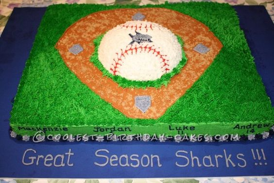 Coolest Baseball Diamond Cake... This website is the Pinterest of birthday cake ideas