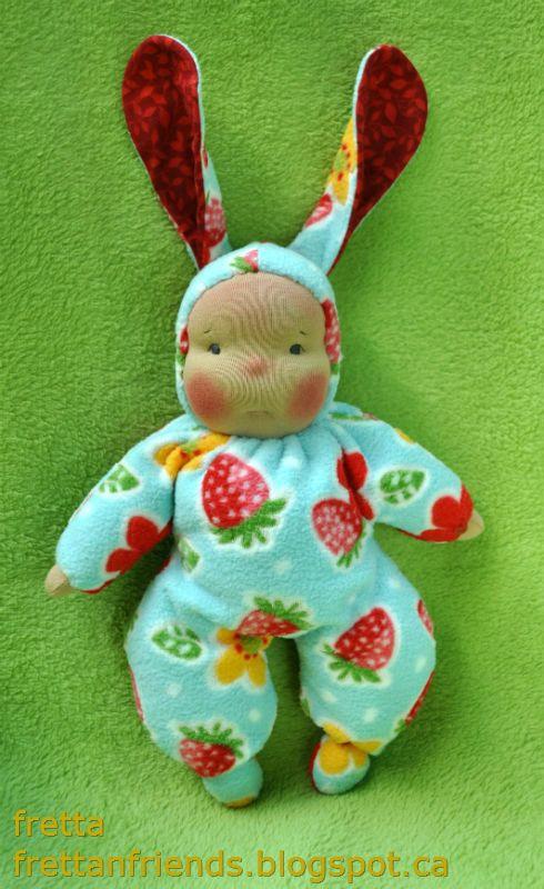 Waldorf style floppy Bunny Baby 11 / 28 cm by FrettasLovableDolls