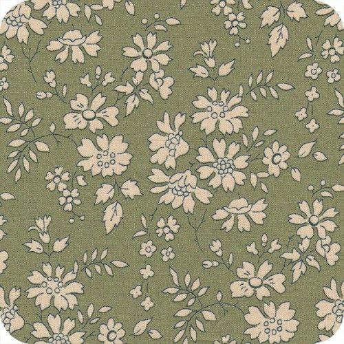 Tissu Liberty Capel , imprimé floral sur un fond vert amande, fleurs écrues