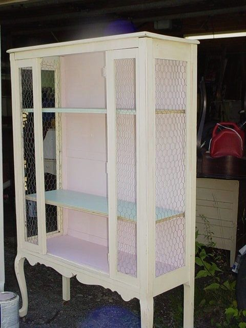 Vintage 1930s Dining Room Cabinet Chicken Wire Sides Shabby Cottage Farmhouse Painted Furniture 30000
