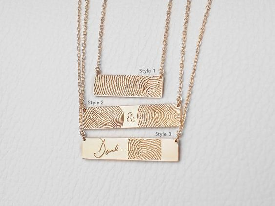 Actual Fingerprint Necklace with Actual Handwriting Loved