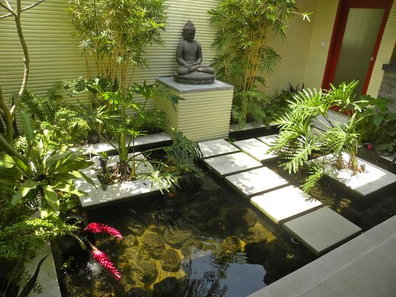 Koi fish pond ideas with direct sunlight suitable for for Garden pond design books