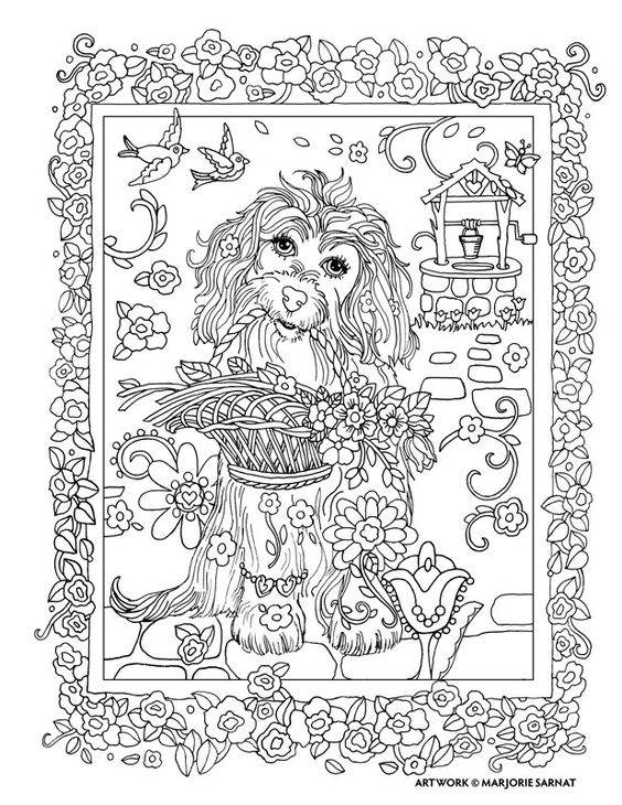 Wishing Well : Dazzling Dogs Coloring Book by Marjorie Sarnat:
