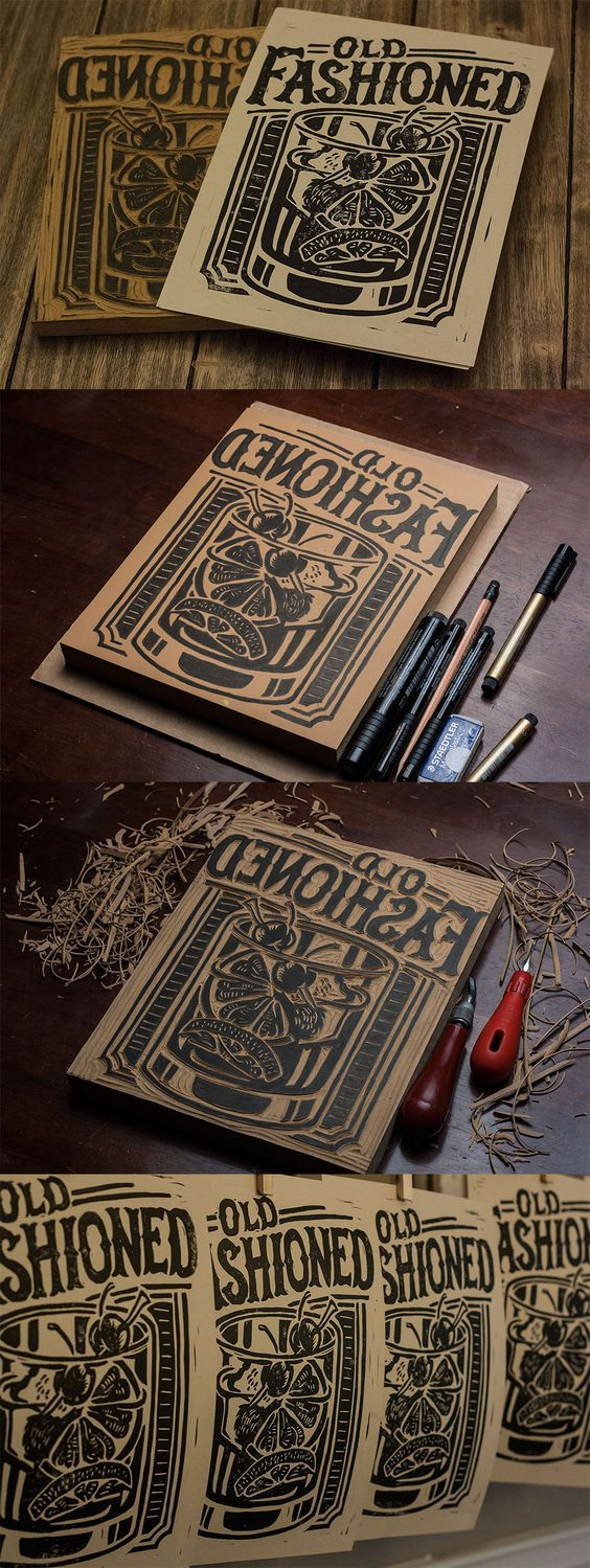 Old Fashioned - Block Print by Derrick Castle