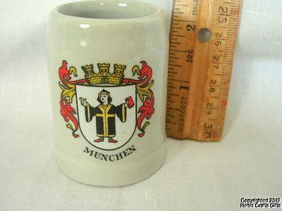 "Beer Stein MUNCHEN Munich Tiny Mug 2 1/2"" Ceramic Germany City Crest Stoneware"