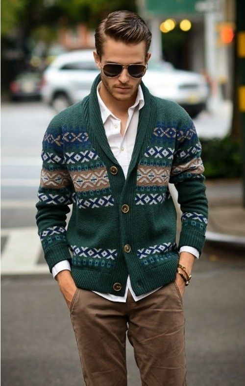 Shop this look for $381: http://lookastic.com/men/looks/green-cardigan-and-white-longsleeve-shirt-and-brown-chinos/134 — Green Fair Isle Cardigan — White Longsleeve Shirt — Brown Chinos