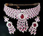 For Sale - Simulated Cubic Diamond Designer Ruby Bridal Necklace Earring Set Gold Plated 79 - http://sprtz.us/FineNecklaces