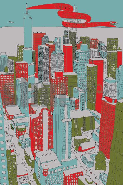 Chicago holiday postcards by slimpaper (etsy) http://www.etsy.com/shop/slimpaper #cards #Chicago #illustration #cityscape