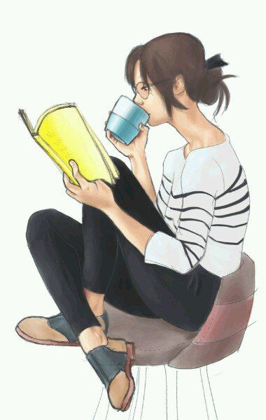 A woman reading her favorite book and drinking coffee.