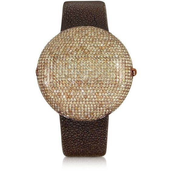 Christian Koban Women's Watches Clou Brown Diamond Dinner Watch (324 800 UAH) ❤ liked on Polyvore featuring jewelry, watches, digital watches, druzy jewelry, drusy jewelry, digital wristwatch and brown diamond jewelry